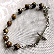 Náramky - Steel Men Bronzite Rosary Bracelet / Pánsky ruženec na ruku alebo do auta s bronzitom - oceľ - 12765822_
