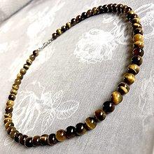 Šperky - Tiger Eye Men Beaded Necklace / Pánsky náhrdelník Tigrie oko - 12766081_
