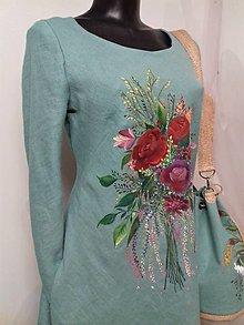 """Šaty - Ľanové maľované šaty """" Jesenná Kytica """" - 12767784_"""