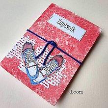 Papiernictvo - Zápisník Červený topánočky A6 - 12766870_