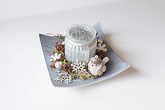 Dekorácie - Vianočný svietnik s vtáčatkom - 12767534_