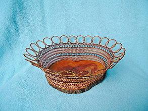 Košíky - Drôtená miska Z jabloňového dreva - 12765974_