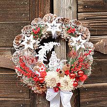 Dekorácie - Vianočný veniec so snehuliakom - 12765414_