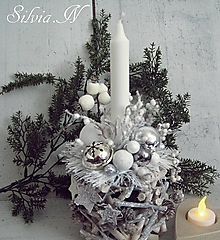 Dekorácie - Prirodný vianočný svietnik. - 12764535_