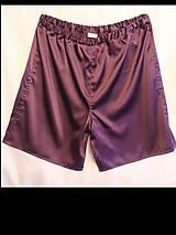 Oblečenie - Hodvábne trenírky (kraťasy alebo šortky) (Kraťasy na spanie alebo šport baklažán) - 12768043_