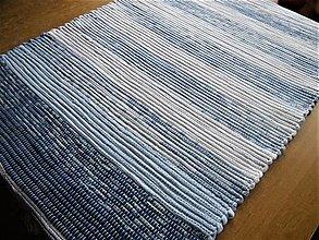 Úžitkový textil - Tkaný koberec bielo-modrý 2 - 12764977_