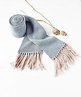 Šály - Pletený šál - modrý s hnedými strapcami - 12768847_
