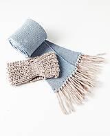 Šály - Súprava - pletený šál s čelenkou - 12769026_
