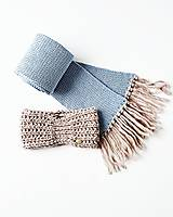 Šály - Súprava - pletený šál s čelenkou - 12769028_