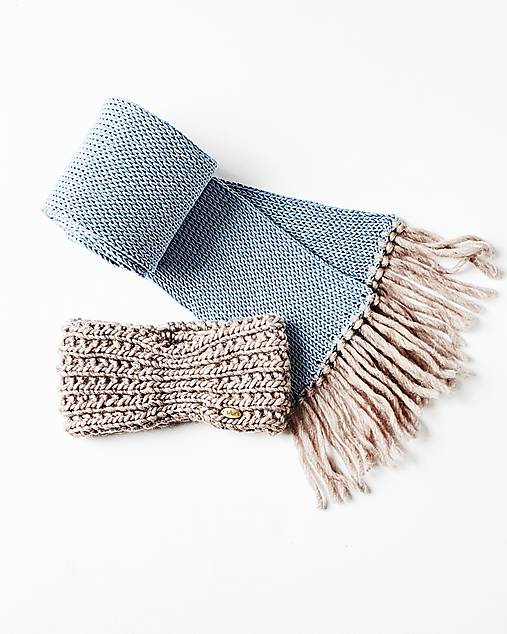 Súprava - pletený šál s čelenkou