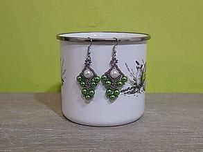 Náušnice - Bielo-zelené náušnice - 12769358_