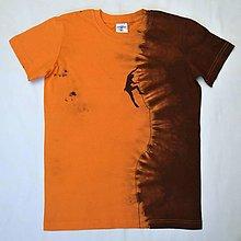Detské oblečenie - Oranž.-hnědé dětské tričko s horolezcem (11-12 let) 12068790 - 12768863_