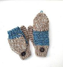 Rukavice - Rukavice béžová s modrou VÝPREDAJ - 12773585_