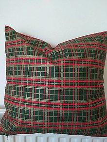 Úžitkový textil - Vankúš zelené káro - 12775728_
