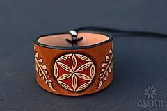 Náramky - Kožený náramok Ornament, šnurovací - 12772697_