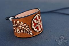 Náramky - Kožený náramok Ornament, šnurovací - 12772698_