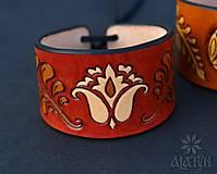 Náramky - Kožený náramok Ornament, šnurovací - 12772737_