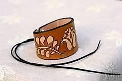 Náramky - Kožený náramok Ornament, šnurovací - 12773336_