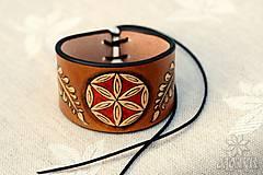 Náramky - Kožený náramok Ornament, šnurovací - 12773362_