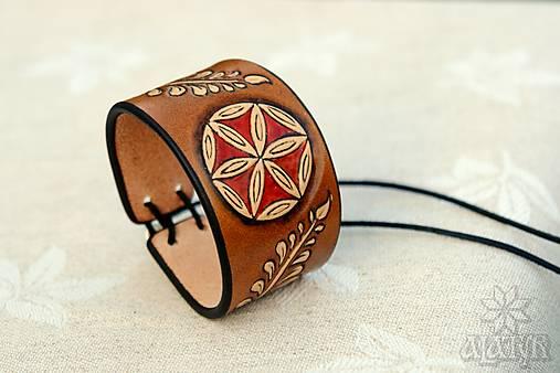 Kožený náramok Ornament, šnurovací