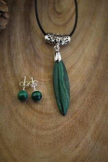 Sady šperkov - malachit prívesok a náušnice - 12775445_