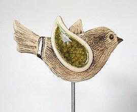 Dekorácie - Keramický vtáčik - zápich - 12774617_