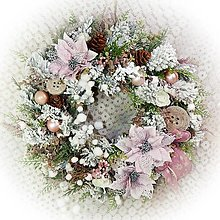 Dekorácie - Zimní věnec - Krása růžových poinsetií - 12775213_