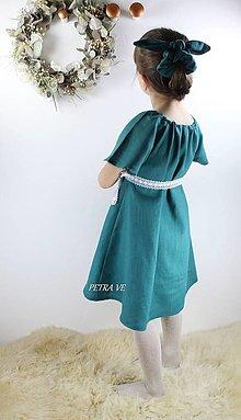 Detské oblečenie - Petrol - detské ľanové šaty - 12774483_