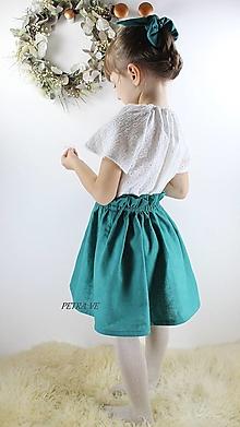 Detské oblečenie - Petrol - detská ľanová suknička - 12774769_