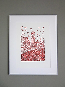Obrázky - BANSKÁ Štiavnica grafika linoryt (Červená) - 12775036_