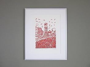Grafika - BANSKÁ Štiavnica grafika linoryt (Červená) - 12775037_