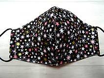 """Rúška - Bavlnené rúška   """" Winter """" (Ružovo zlaté hviezdičky na čiernej) - 12776932_"""