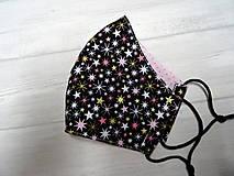 """Rúška - Bavlnené rúška   """" Winter """" (Ružovo zlaté hviezdičky na čiernej) - 12776933_"""