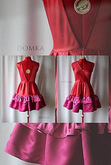 Šaty - Červeno ružové šaty s bohatou sukňou - 12779530_