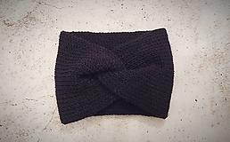 Turbanová dvojvrstvová pletená čelenka, čierna
