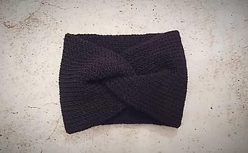 Čiapky - Turbanová čierna  vlnená dvojvrstvová pletená čelenka - 12778355_