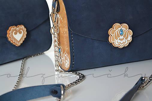 Drevená folk kabelka kožená Julka Odzuzičky (Modrá s popruhom malá)