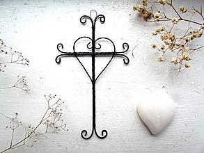Dekorácie - drôtovaný krížik na stenu - 12778835_