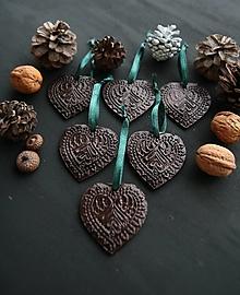 """Dekorácie - Vianočné srdiečka """"čokoládové"""" - 12780620_"""