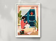 Grafika - Zimní večer - umělecký tisk, A4 - 12783964_