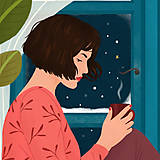 Grafika - Zimní večer - umělecký tisk, A4 - 12783967_