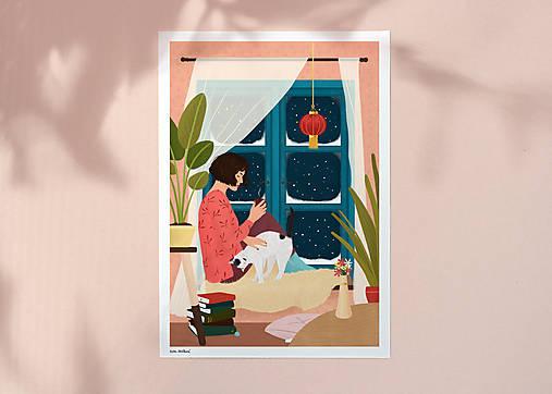 Zimní večer - umělecký tisk, A4