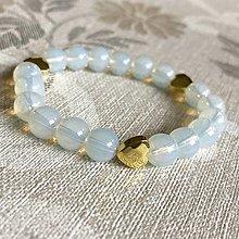 Náramky - Elastic Opalite and Gold Hematite Heart Bracelet / Elastický náramok opalit, hematit zlatý srdce - 12781538_