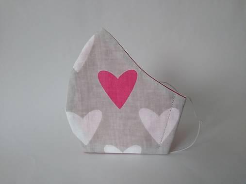 Dizajnové rúško srdce šedé/magenta tvarované dvojvrstvové
