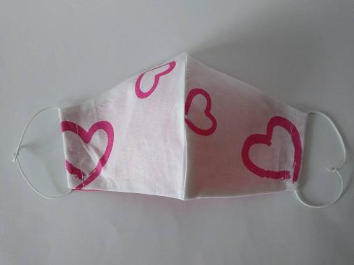 Dizajnové rúško srdcia magenta tvarované dvojvrstvové