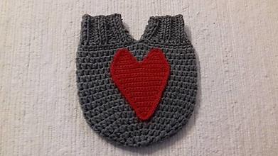 Rukavice - Zamilovaná partnerská rukavička - šedá, červená - 12781220_