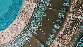 Úžitkový textil - Obrus na okrúhly stôl, tyrkysová mandala - 12780689_