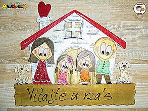 Tabuľky - Menovka - rodinka a domček - 12780743_