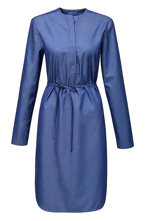 Šaty - Košilové šaty v džínovém vzhledu - 12780227_