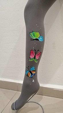 Nohavice - P - motýle sivé - 12780083_
